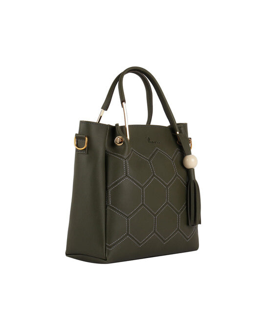 Shop Faux Leather Embroidery Handle Olive Round Sling Bag-Design