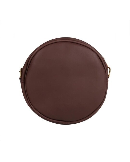 Shop Faux Leather Round Embroidery Sling Bag Coffee-Design