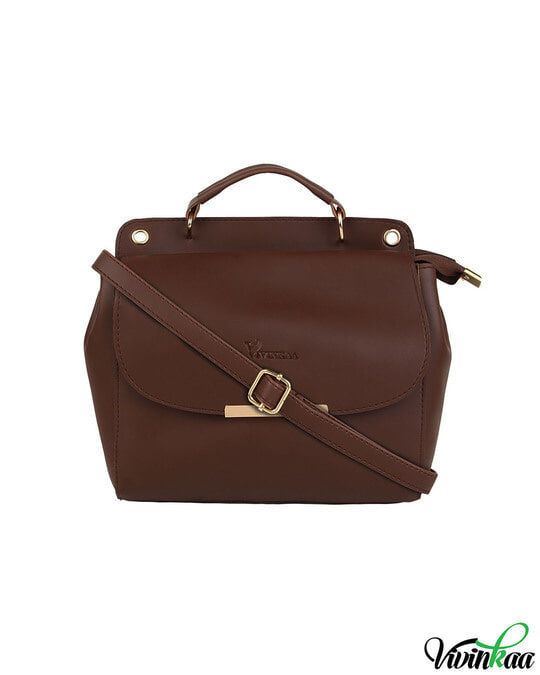 Shop Leatherette Flap Compartment Coffee Sling Bag-Front