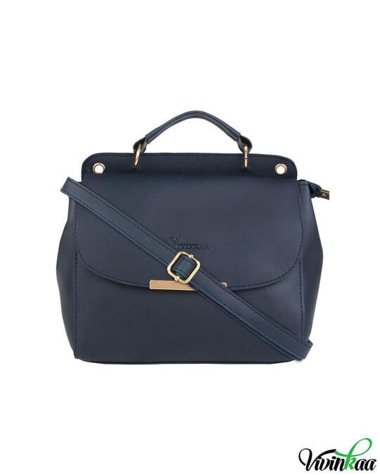 Shop Leatherette Flap Compartment Navy Sling Bag-Front