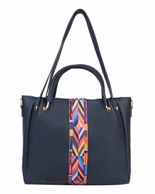 Shop Leatherette Pack Of 5 Embroidered With Tape Navy Sling Bag-Back