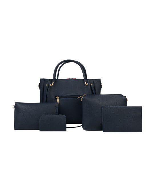 Shop Leatherette Pack Of 5 Embroidered With Tape Navy Sling Bag