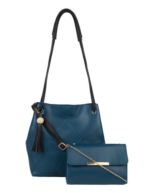 Shop Leatherette Set Of 2 Embroidered Aqua Sling Bag-Front