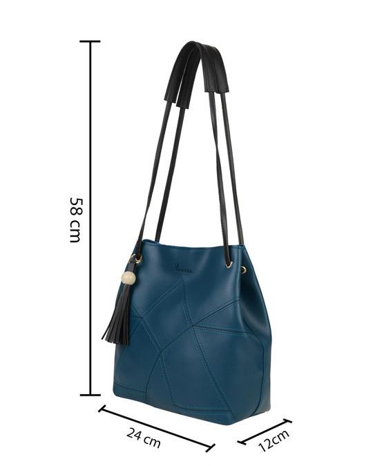 Shop Leatherette Set Of 2 Embroidered Aqua Sling Bag