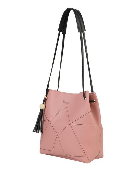 Shop Leatherette Set Of 2 Embroidered Pink Sling Bag-Full