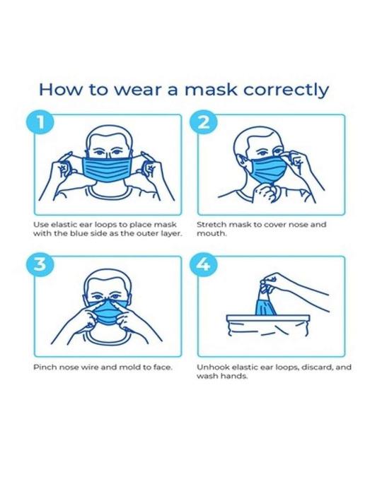 Shop Pack Of 50 3 Ply Disposable Mask With Meltblown & Inbuilt Nosepin-Design