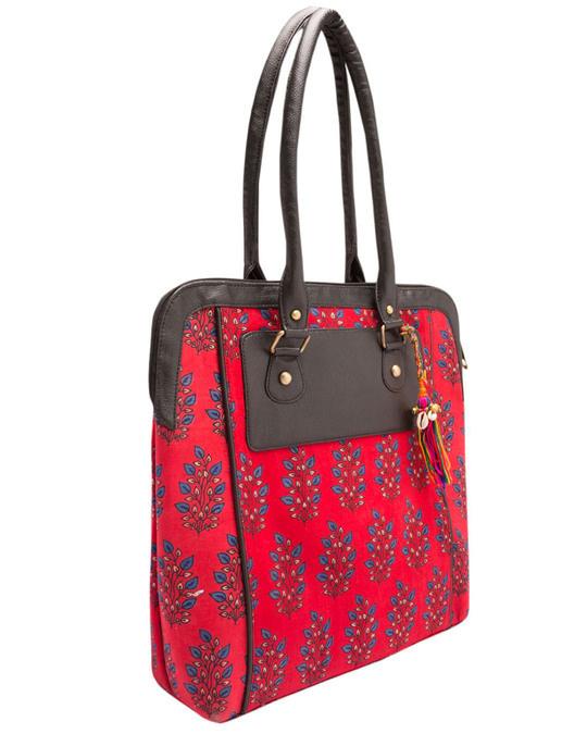 Shop Printed Red & Blue Tote Bag-Back