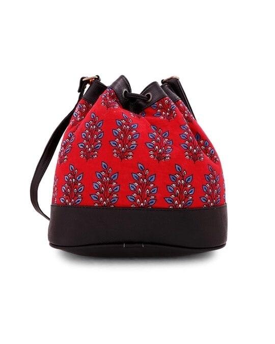 Shop Printed Red Bucket Sling Bag-Design