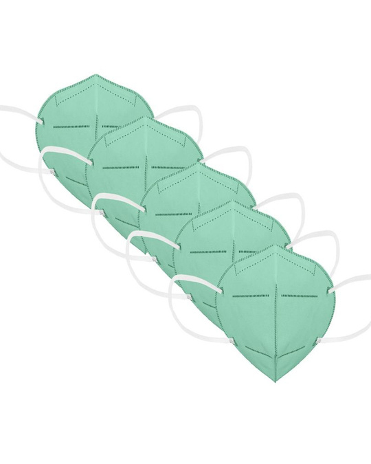 Shop Protective Mask Pack Of 5 N95 Green-Front