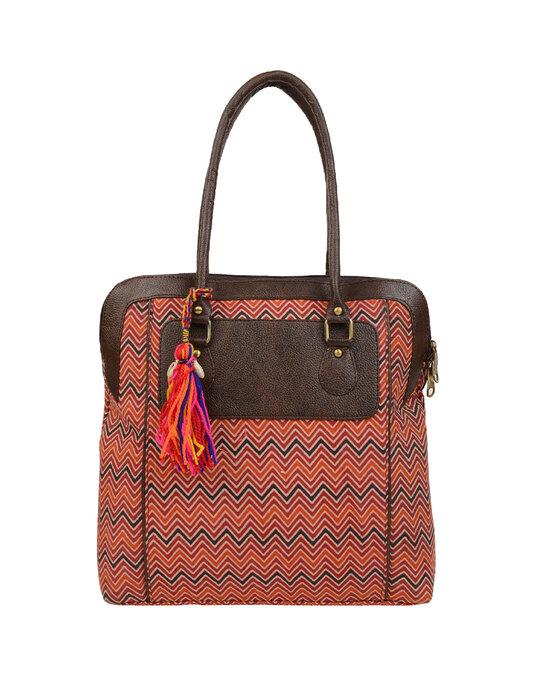 Shop Womens Ethnic Leatherette/Cotton Orange Leaf Tassle Tote Bag-Front