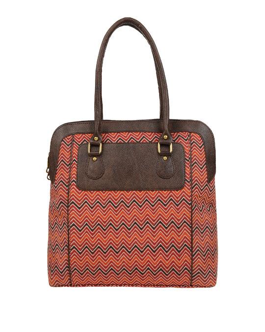 Shop Womens Ethnic Leatherette/Cotton Orange Leaf Tassle Tote Bag-Design