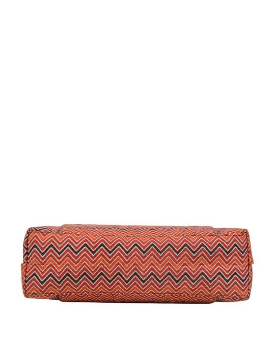 Shop Womens Ethnic Leatherette/Cotton Orange Leaf Tassle Tote Bag