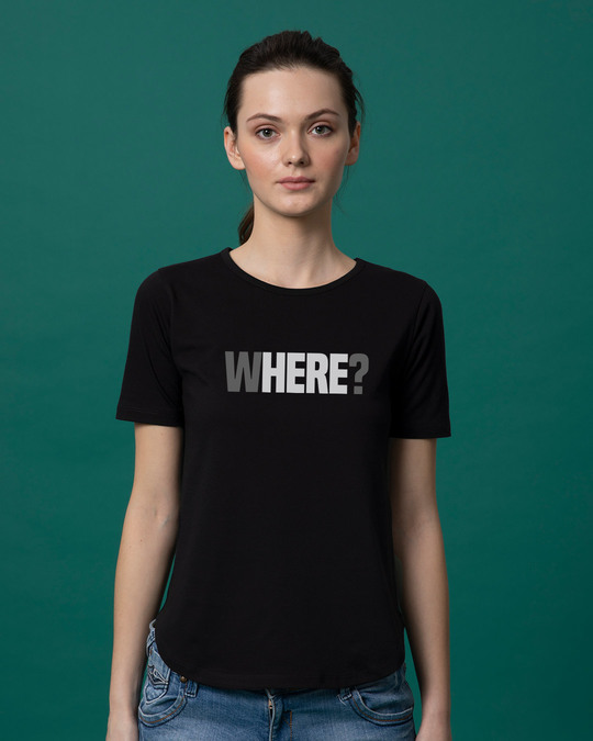 Shop W-here Basic Round Hem T-Shirt-Front
