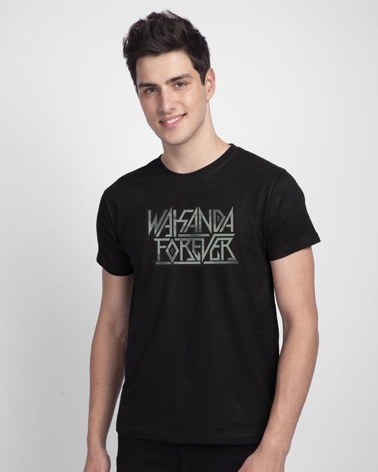 Shop Wakanda King Forever Half Sleeve T-Shirt (AVG) Black-Front