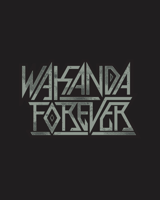 Shop Wakanda King Forever Half Sleeve T-Shirt (AVG) Black-Full