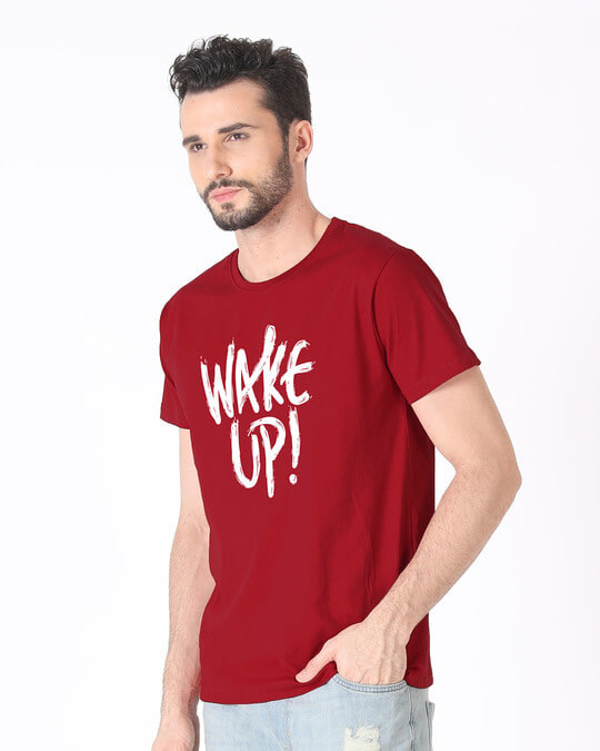 Shop Wake Up Half Sleeve T-Shirt-Design