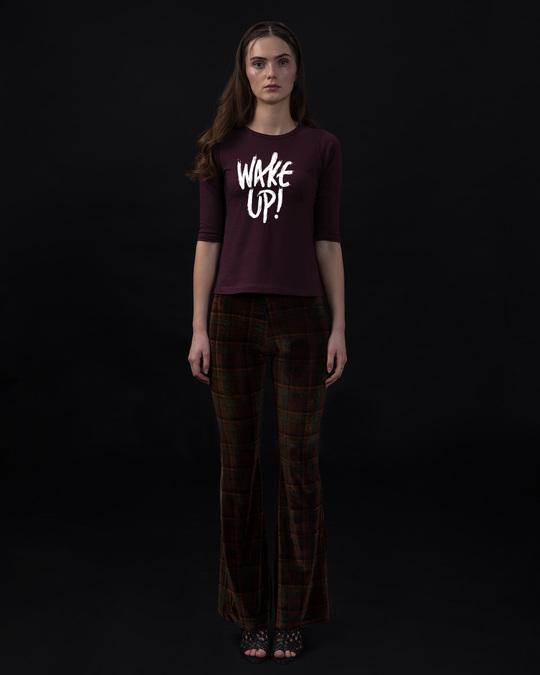 Shop Wake Up Round Neck 3/4th Sleeve T-Shirt-Full