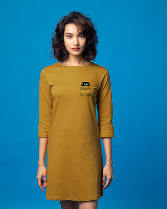 Shop Wall Cat Boat Neck 3/4th Sleeve T-Shirt Dress-Front