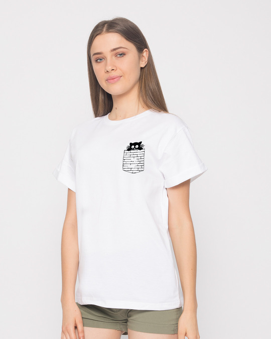 Shop Wall Cat Boyfriend T-Shirt-Full
