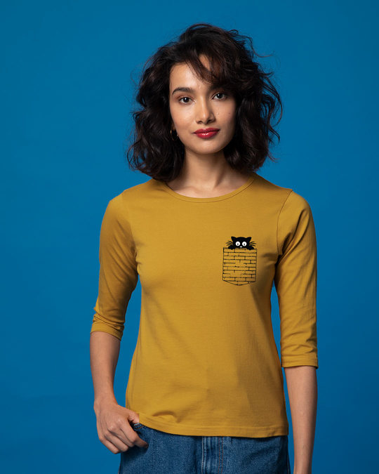 Shop Wall Cat Round Neck 3/4th Sleeve T-Shirt-Back