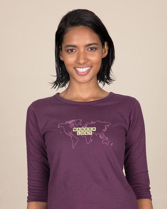 Shop Wanderlust Scrabble Round Neck 3/4th Sleeve T-Shirt-Front