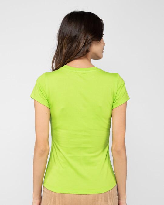 Shop WARM & COZY PENGUIN Half Sleeve Printed T-Shirt Neon Green -Back