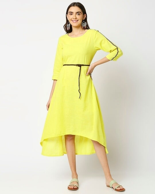 Shop Women's High Low Solid Maxi Dress with belt-Back