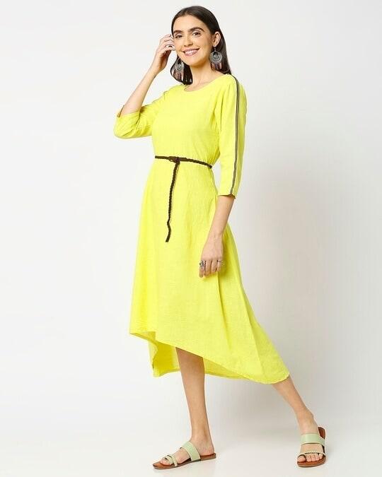 Shop Women's High Low Solid Maxi Dress with belt-Design