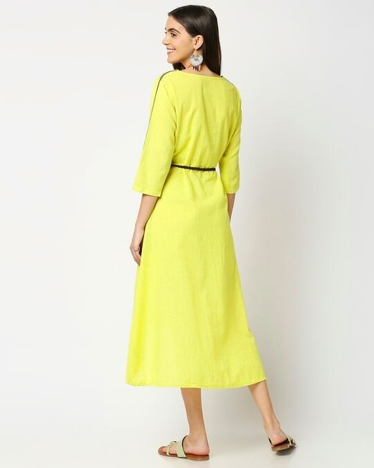 Shop Women's High Low Solid Maxi Dress with belt-Full