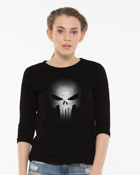 Shop Warrior Punisher Round Neck 3/4th Sleeve T-Shirt-Front