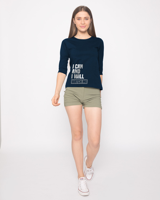 Shop Watch Me Round Neck 3/4th Sleeve T-Shirt-Full
