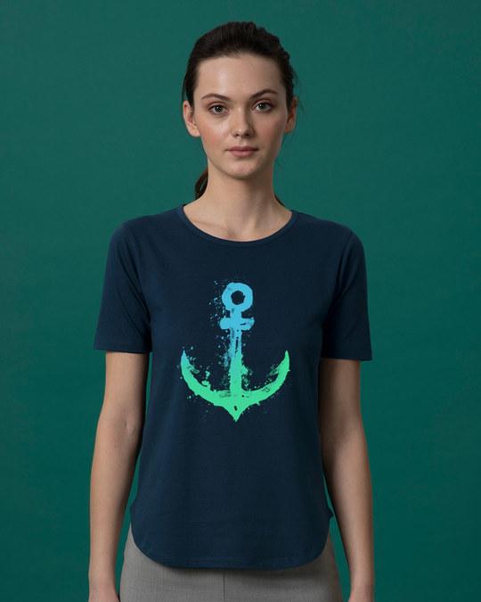 Shop Watercolor Anchor Basic Round Hem T-Shirt-Front