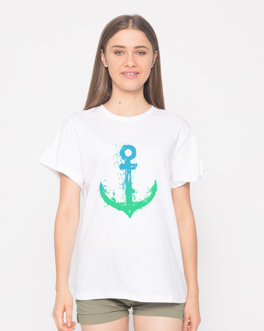Shop Watercolor Anchor Boyfriend T-Shirt-Front
