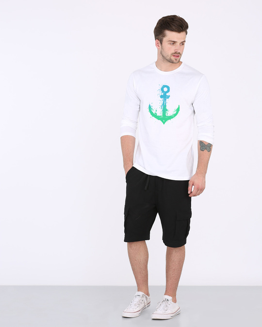 Shop Watercolor Anchor Full Sleeve T-Shirt-Full