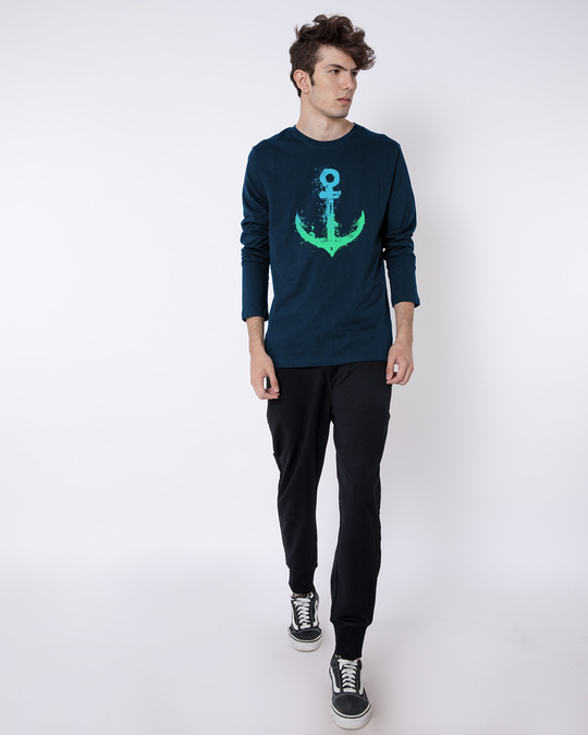 Shop Watercolor Anchor Full Sleeve T-Shirt