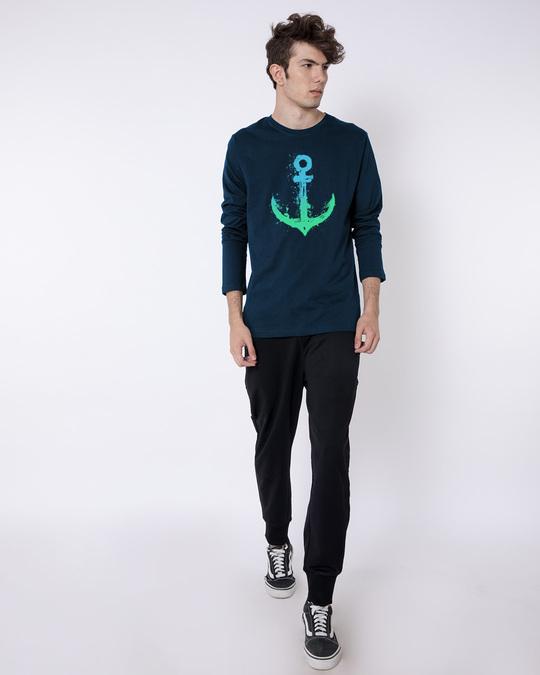 Shop Watercolor Anchor Full Sleeve T-Shirt-Full