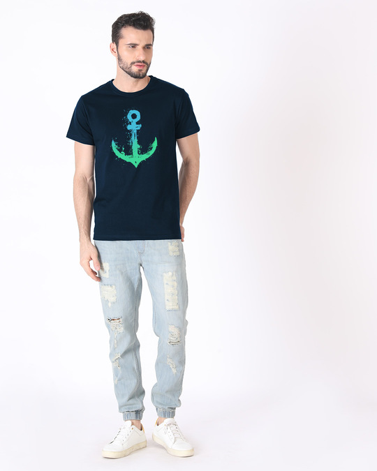 Shop Watercolor Anchor Half Sleeve T-Shirt