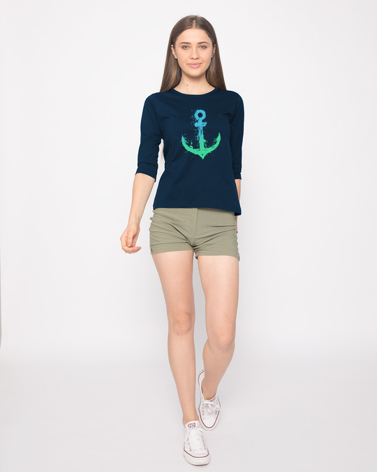Shop Watercolor Anchor Round Neck 3/4th Sleeve T-Shirt