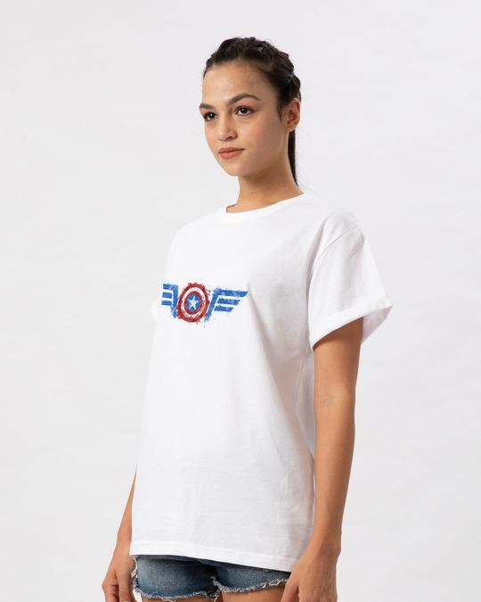 Shop Watercolor Captain America Boyfriend T-Shirt (AVL)-Back