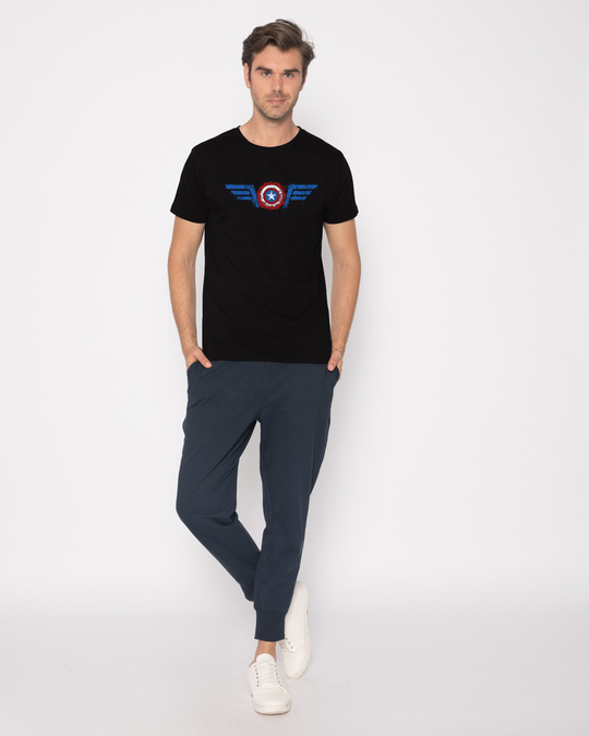 Shop Watercolor Captain America Half Sleeve T-Shirt (AVL)