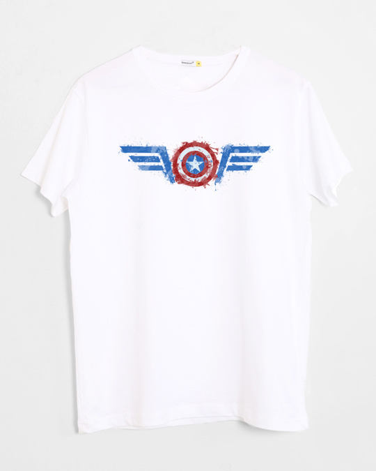 Shop Watercolor Captain America Half Sleeve T-Shirt (AVL)-Front