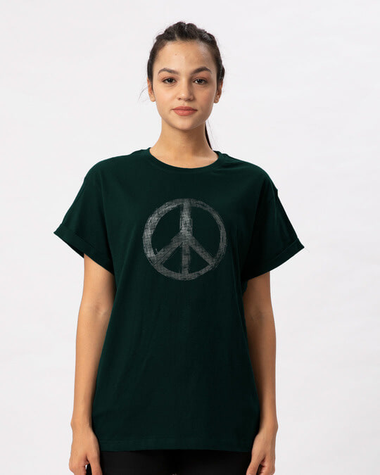 Shop Watercolor Peace Boyfriend T-Shirt-Front