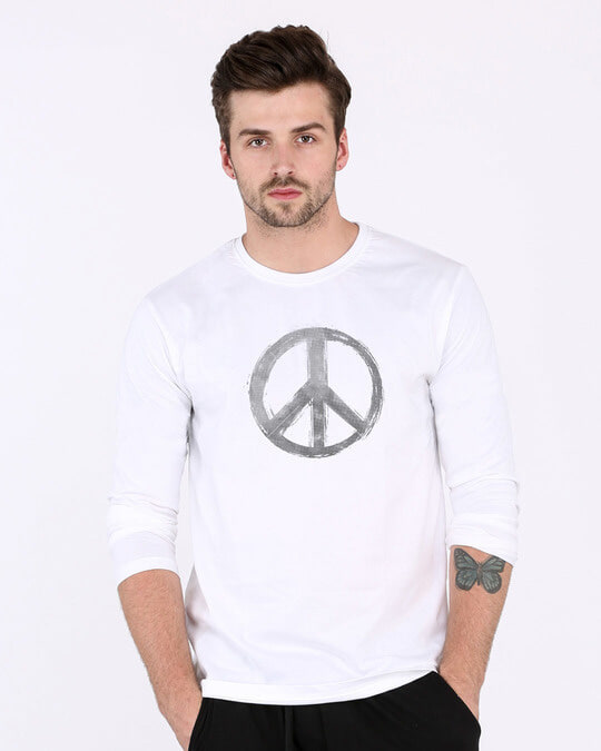 Shop Watercolor Peace Full Sleeve T-Shirt-Front
