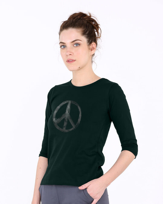 Shop Watercolor Peace Round Neck 3/4th Sleeve T-Shirt-Back