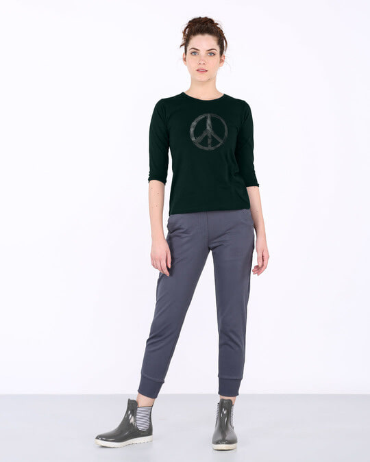 Shop Watercolor Peace Round Neck 3/4th Sleeve T-Shirt-Full