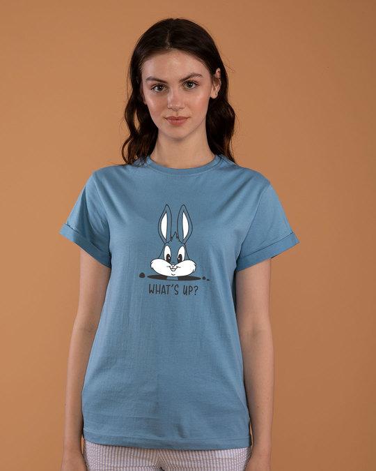Shop Watsup Bunny Boyfriend T-Shirt-Front
