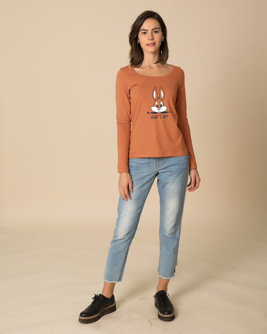 Shop Watsup Bunny Scoop Neck Full Sleeve T-Shirt-Full