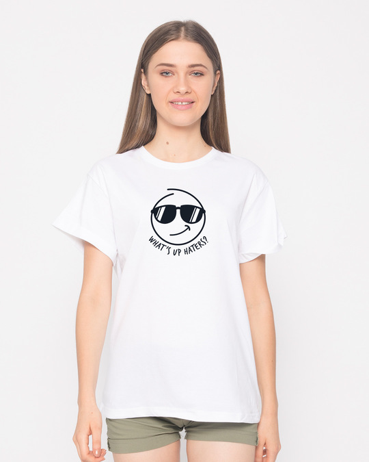 Shop Watsup Haters Boyfriend T-Shirt-Front