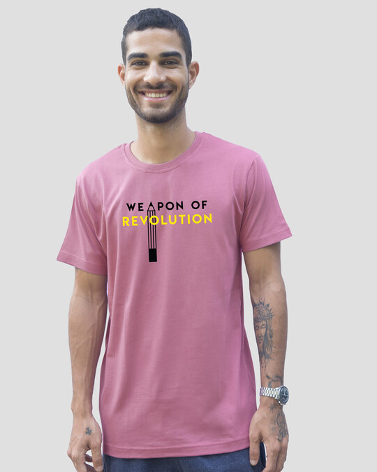 Shop Weapon Of Revolution Half Sleeve T-Shirt Frosty Pink-Front