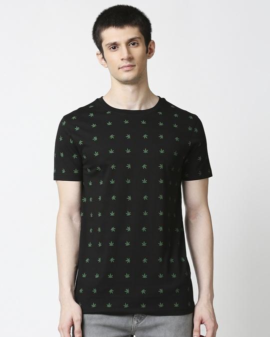 Shop Weed Leaf AOP Half Sleeves T-Shirt-Back